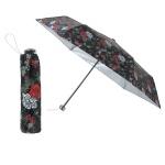 晴雨兼用バラ柄シルバーコート折りたたみ傘